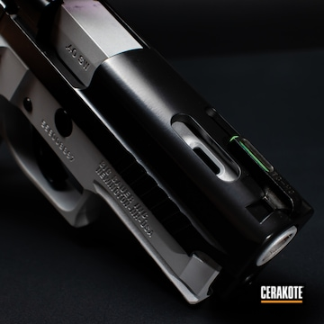 Sig Sauer P229 Cerakoted Using Satin Silver And Blackout