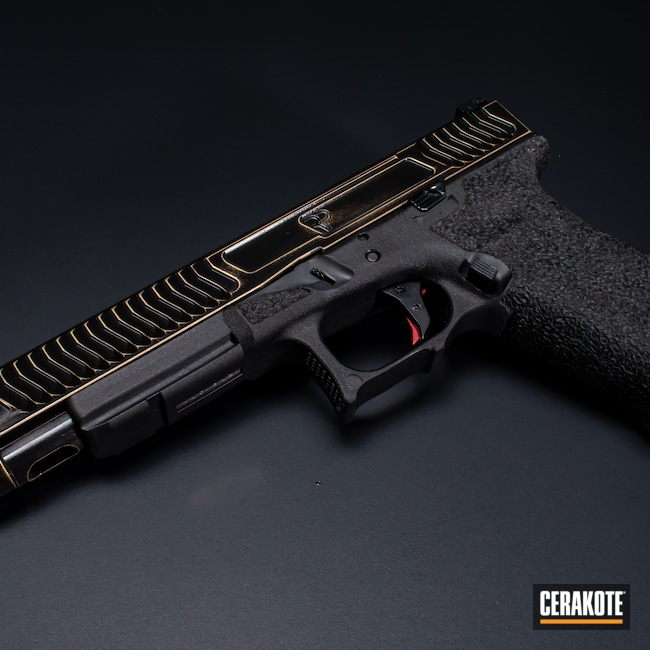Cerakoted: S.H.O.T,Graphite Black H-146,Distressed,Firearm,Glock,Glock 17L,Gold H-122