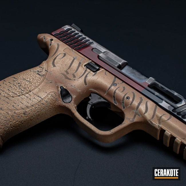 Cerakoted: S.H.O.T,M&P,American Flag,A.I. Dark Earth H-250,Constitution,Bright White H-140,FS BROWN SAND H-30372,Graphite Black H-146,RUBY RED H-306,Smith & Wesson,Distressed American Flag,Firearm,Ridgeway Blue H-220