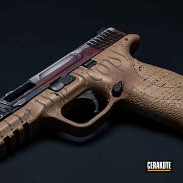 Distressed American Flag Themed Smith & Wesson M&p Cerakoted Using Ridgeway Blue, A.i. Dark Earth And Bright White