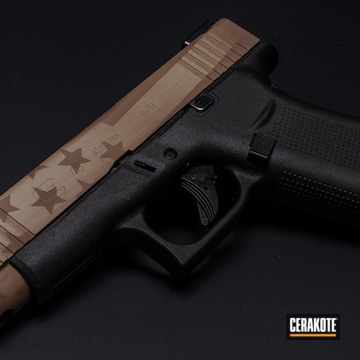 American Flag Themed Glock 48 Cerakoted Using Fs Brown Sand, Matte Brown And Copper Brown