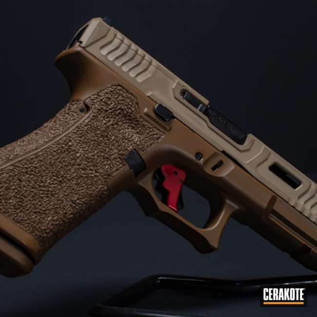 Two Tone Glock 17 Cerakoted Using A.i. Dark Earth, Fs Brown Sand And Magpul® Flat Dark Earth