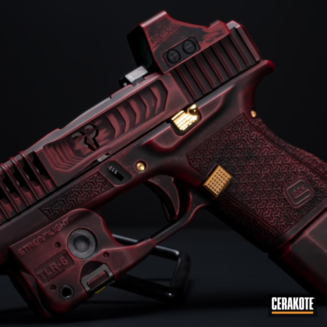 Cerakoted: S.H.O.T,Battleworn,Graphite Black H-146,RUBY RED H-306,Firearm,Glock,Glock 43