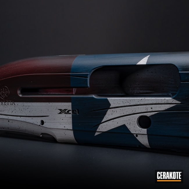 Cerakoted: Bright White H-140,S.H.O.T,Battleworn,Shotgun,Graphite Black H-146,RUBY RED H-306,Firearm,Ridgeway Blue H-220,Beretta,a400,Texas Flag