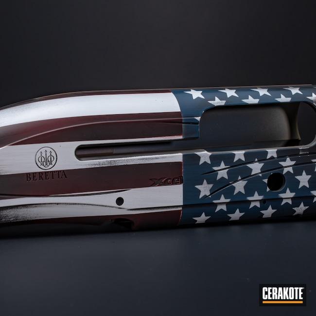 Cerakoted: S.H.O.T,American Flag,a400,Constitution,Bright White H-140,FS BROWN SAND H-30372,Shotgun,Graphite Black H-146,RUBY RED H-306,Distressed American Flag,Firearm,Ridgeway Blue H-220,Beretta,Copper Brown H-149