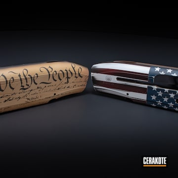 American Flag And Constitution Themed Beretta Shotgun Receivers Cerakoted Using Ridgeway Blue, Bright White And Fs Brown Sand