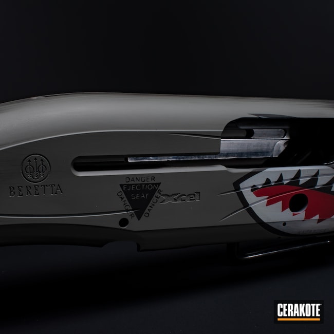 Cerakoted: S.H.O.T,A10,Distressed,Bull Shark Grey H-214,a400,Bright White H-140,Electric Yellow H-166,Shotgun,Graphite Black H-146,RUBY RED H-306,Firearm,Beretta,Fighter Plane Graphics