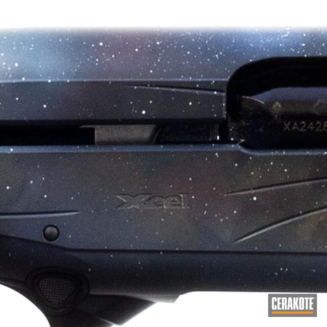 Cerakoted: S.H.O.T,Midnight Blue H-238,Robin's Egg Blue H-175,Electric Yellow H-166,Shotgun,RUBY RED H-306,Firearm,Space,Beretta,a400,Galaxy,Sky Blue H-169