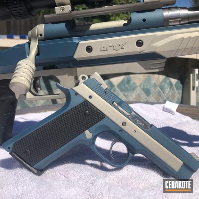 Rifle And Pistol Cerakoted Using Bright Nickel And Blue Titanium