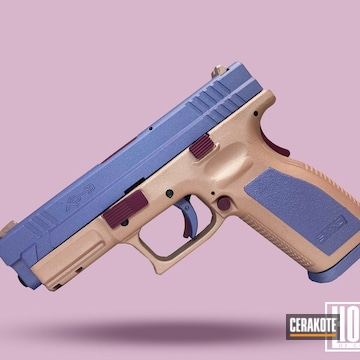 Springfield Amory Xd-9 Cerakoted Using Rose Gold, Black Cherry And Crushed Orchid