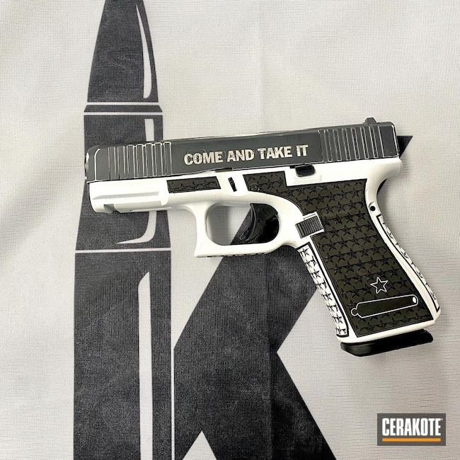 Cerakoted: Bright White H-140,Glock 19,Sniper Grey H-234,Come And Take It