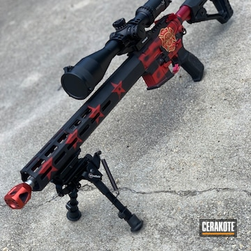 Cerakoted Fire Department Themed Ar-15 In H-146 And H-122