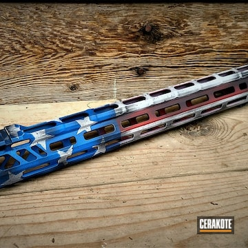 Cerakoted Distressed American Flag Themed Handguard