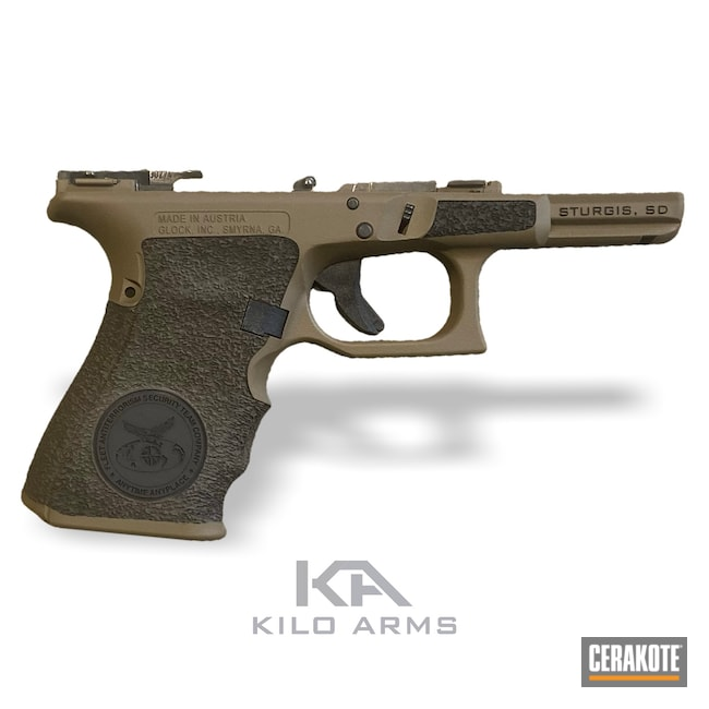 Cerakoted: Laser Stippled,Glock 19,Graphite Black H-146,Stippled,Pistol,Glock,USMC,EDC,GLOCK® FDE H-261,Military,Handgun