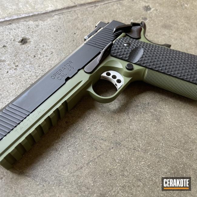 Cerakoted: .45,Springfield 1911,Graphite Black H-146,Two Tone,1911,Handguns,45 ACP,MULTICAM® DARK GREEN H-341