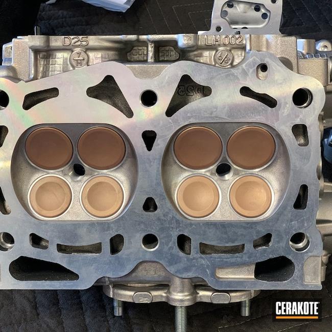 Cerakoted: Valves,Titanium Red Piston Coat V-139,Subaru,STI,GSC Power Division,D25,Automotive,DOHC,WRX
