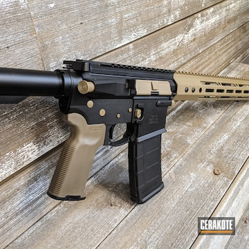 Two Tone Ar Cerakoted Using Coyote Tan And Graphite Black