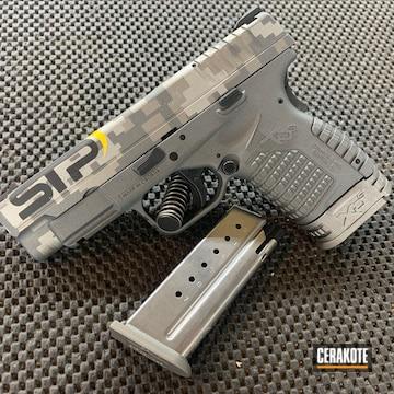 Digital Camo Springfield Armory Xds Cerakoted Using Gun Metal Grey, Tactical Grey And Corvette Yellow