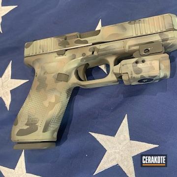 Custom Camo Glock 22 Cerakoted Using Desert Sand, Patriot Brown And Desert Verde