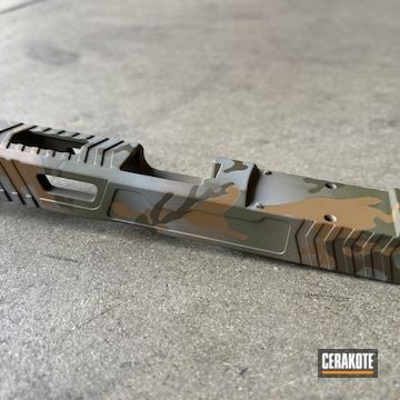 Custom Multicam Glock 19 Slide Cerakoted Using Troy® Coyote Tan, Patriot Brown And Sniper Green