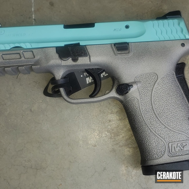 Cerakoted: S.H.O.T,380EZ,Robin's Egg Blue H-175,Firearm,Titanium H-170,S&W,Handgun