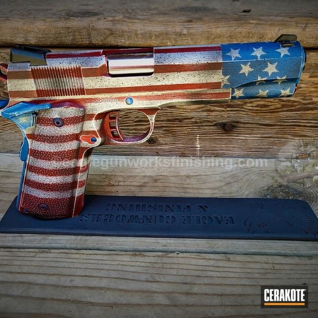 Cerakoted: S.H.O.T,Rock Island Armory,Crimson H-221,Pistol,Rock Island,Hidden White H-242,NRA Blue H-171,Battleworn,Distressed Flag,Custom 1911,Springfield 1911 A1,1911,45 ACP