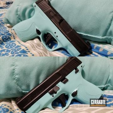 Smith & Wesson M&p Shield Cerakoted Using Robin's Egg Blue
