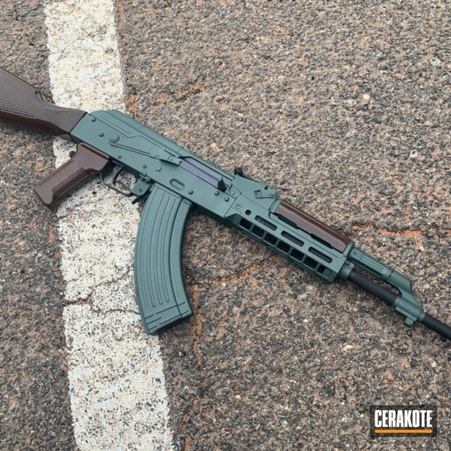 Ak-47 Cerakoted Using Charcoal Green, Micro Slick Dry Film Lubricant Coating (air Cure) And Graphite Black