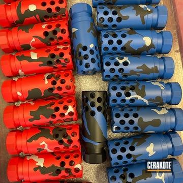 Custom Camo Muzzle Brakes Cerakoted Using Crushed Silver, Usmc Red And Nra Blue