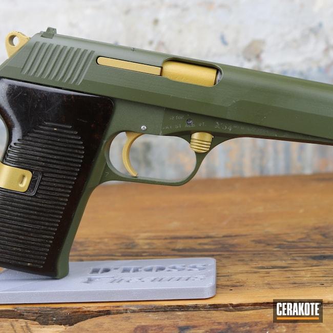 Cerakoted: S.H.O.T,Pistol,O.D. Green H-236,Firearms,CZ 52,Gold H-122