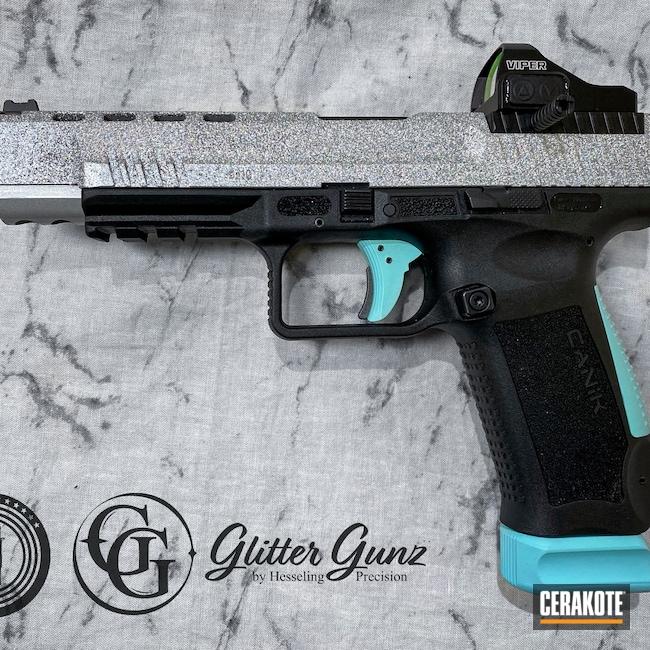 Cerakoted: S.H.O.T,9mm,Glitter,Robin's Egg Blue H-175,Custom,Canik,Satin Aluminum H-151,tp9sfx