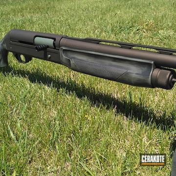 Benelli Super Eagle Shotgun Cerakoted Using Midnight Bronze, Jungle And Graphite Black