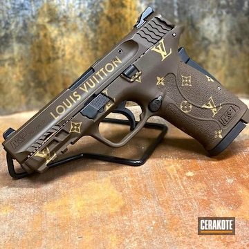 Louis Vuitton Themed Smith & Wesson M&p Shield Cerakoted Using Plum Brown, Burnt Bronze And Gold