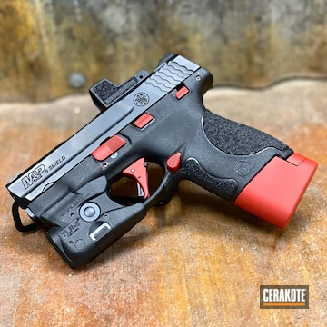 Smith & Wesson M&p Shield Cerakoted Using Firehouse Red