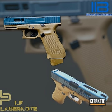 Two Tone Glock 19 Cerakoted Using Troy® Coyote Tan, Sniper Grey And Coyote Tan