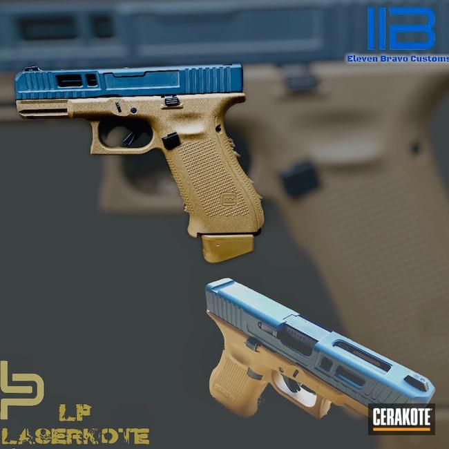 Cerakoted: S.H.O.T,Glock 19,9mm,Glock 19 Gen 5,Sniper Grey H-234,Coyote Tan H-235,TROY® COYOTE TAN H-268,Pistol,Glock,Glock 19X,Handgun