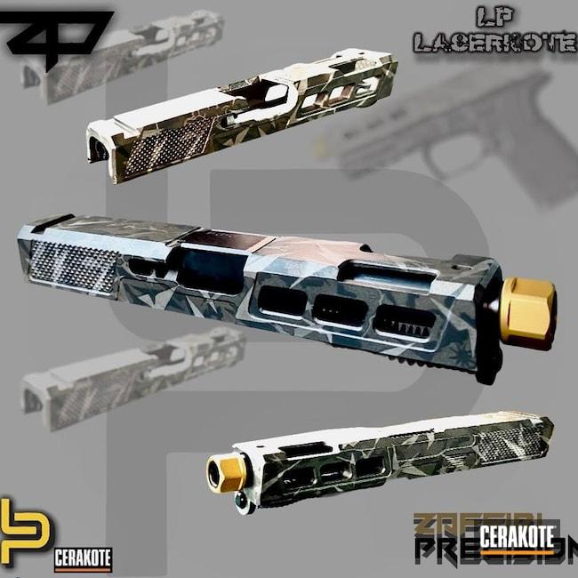 Splinter Camo Glock 19 Cerakoted Using Satin Aluminum, Stainless And Platinum Grey