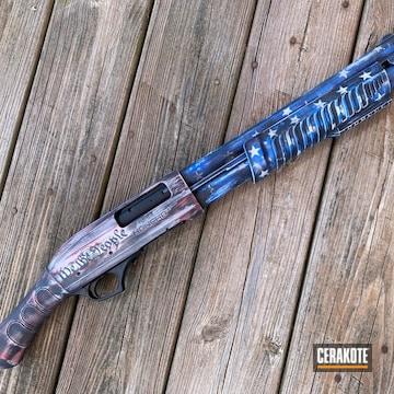 American Flag Themed Shotgun Cerakoted Using Hidden White, Crimson And Nra Blue