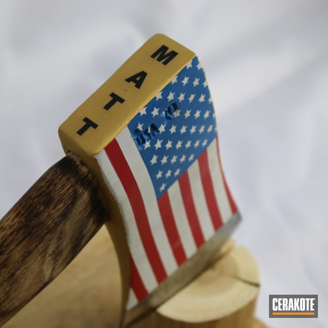 American Flag Themed Throwing Axe Cerakoted Using Ridgeway Blue, Frost And Rose Gold