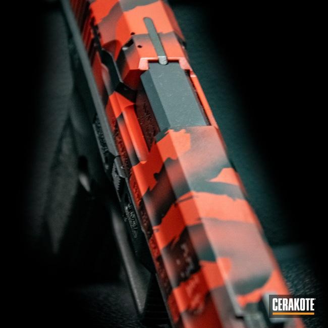 Cerakoted: 9mm,Tiger Stripes,Gloss Black H-109,Canik,RUBY RED H-306,Handgun