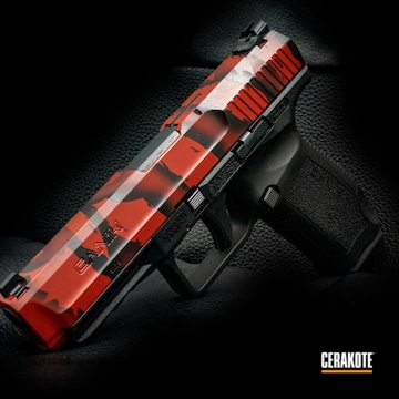 Tiger Striped Themed Canik Pistol Cerakoted Using Gloss Black And Ruby Red