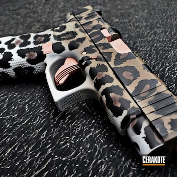 Leopard Print Glock 48 Cerakoted Using Snow White, Rose Gold And Graphite Black