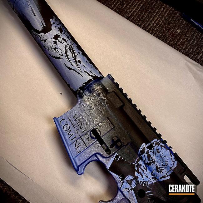 Cerakoted: S.H.O.T,FROST H-312,Armor Black H-190,PSA,.300 Blackout,POLAR BLUE H-326,AR15 Lower