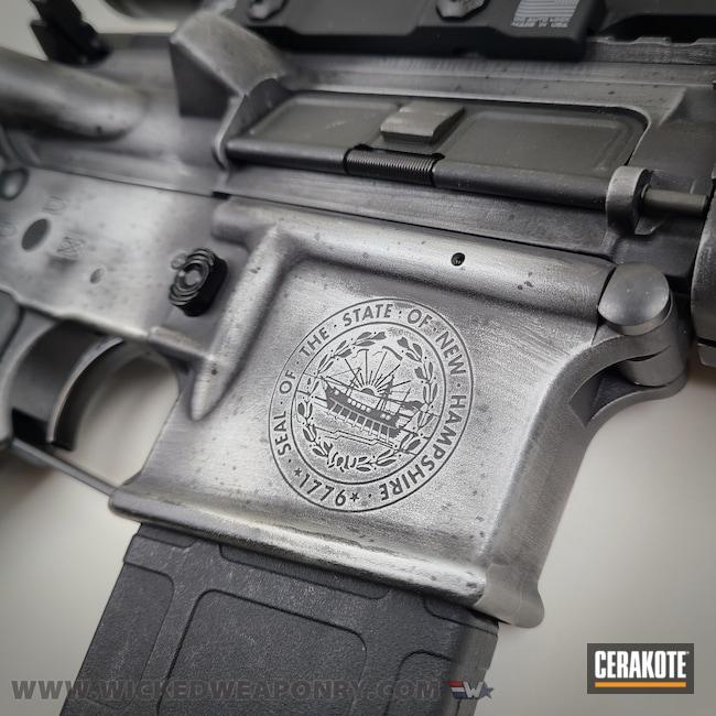Cerakoted: S.H.O.T,Graphite Black H-146,Distressed,wickedweaponry,Satin Aluminum H-151,.223,AR-15