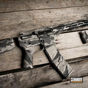 Custom Camo Ar Cerakoted Using Titanium, Armor Black And Tungsten