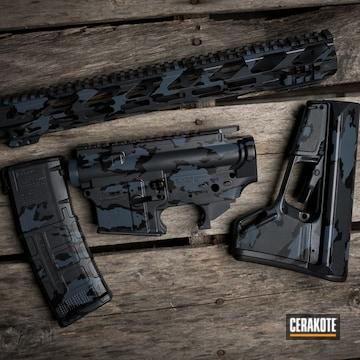 Custom Camo Ar Builders Set Cerakoted Using Armor Black, Multicam® Dark Grey And Sniper Grey