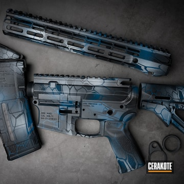 Kryptek Camo Ar Cerakoted Using Sniper Grey, Battleship Grey And Blue Titanium