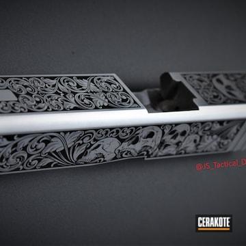 Deep Engraved Glock 19 Slide Cerakoted Using Graphite Black