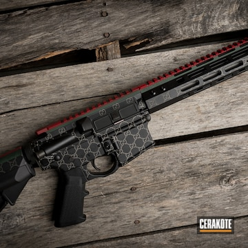 Gucci Themed Ar Cerakoted Using Crimson, Armor Black And Forest Green