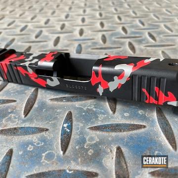 Custom Camo Glock Slide Cerakoted Using Usmc Red, Graphite Black And Bull Shark Grey